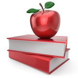 Books and apple red school book education encyclopedia. Back to school book and apple education health books reading textbook concept. 3d render  on white Royalty Free Stock Images