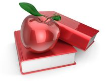 Books apple red textbook education studying wisdom icon. Books apple red textbook education studying reading learning school college knowledge wisdom idea icon Stock Photography