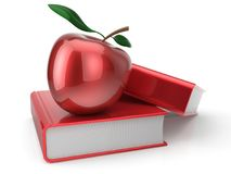 Books with apple red textbook school education studying icon. Books with apple red textbook education studying reading learning school college knowledge wisdom Royalty Free Stock Photos
