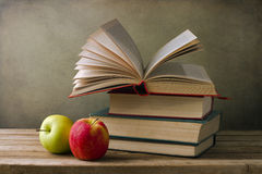 Books and apples Royalty Free Stock Image