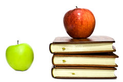 Books and apples Royalty Free Stock Images