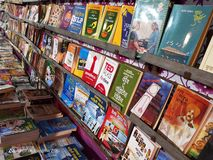 Books arranged neatly in book exhibition held at suburban city. Books arranged neatly royalty free stock photography