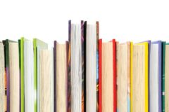 Several books arranged in rows. Books arranged in a row, copy-space royalty free stock images