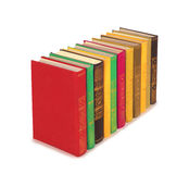 Books are arranged. In a row on a white background royalty free stock photos