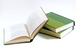 Books (back to school). Books on white background green Stock Photography