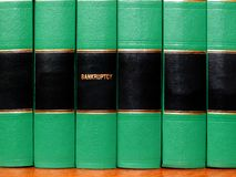 Books on Bankruptcy. Close up of several volumes of books on bankruptcy Royalty Free Stock Image