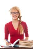 books barn för glasögondeltagarekvinna Arkivfoton