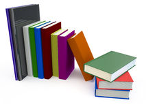 Books big. Color hardcover books isolated on white background Stock Images