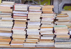 Books. Big pile of books at fle market stall Stock Images