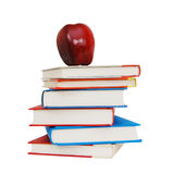 Books with a big red apple Royalty Free Stock Image