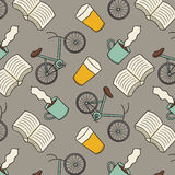Books, Bikes, Beer and Coffee Pattern Stock Photo