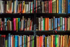 Books in Black Wooden Book Shelf Royalty Free Stock Photos