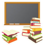 Books and blackboard Stock Photos