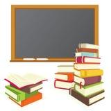Books and blackboard Stock Photos