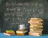 Books and blackboard Royalty Free Stock Images
