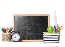 Books and blackboard School Stock Photo