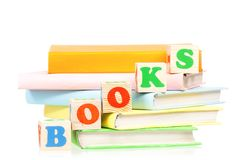 Books with blocks Royalty Free Stock Photo