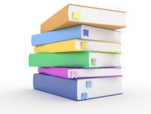 Books with bookmarks on white Royalty Free Stock Photos