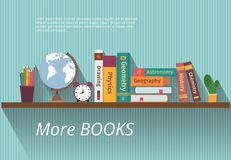 Books on bookshelf. Study knowledge, furniture and wall, textbook, and information, encyclopedia science, vector illustration Stock Photography