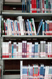 Books in bookshelf. A bookshelf in a University library . china stock image