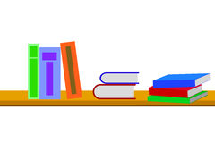 Books at bookshelf  on white Royalty Free Stock Photos