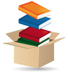 Books in a box. Books in a shipping box concept Royalty Free Stock Photography