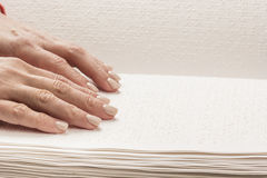 Books Braille. The touch of your fingertips the texture of the p Royalty Free Stock Photos