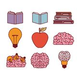 Books brains lighbulb and apple silhouettes set in white background vector illustration