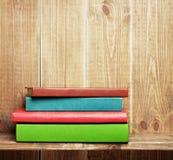 Books on the brown bookshelf Stock Photo