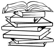 Books. Brush stroke line art isolated books image Stock Image