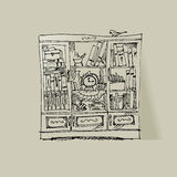 Books cabinet sketch Stock Images