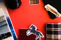 Travel wallpaper on red background royalty free stock photos