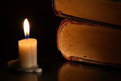 Books And Candle Royalty Free Stock Image