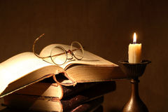 Books And Candle Royalty Free Stock Images