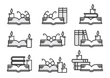 Books, candles and glasses. Black and white set of books, candles and glasses Royalty Free Stock Images