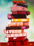 Books on canvas painting. Stock Image