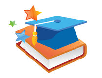 Books with cap. Color books with cap illustration stock illustration