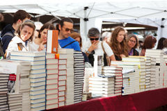 Books in Catalan feast day of Saint George Stock Image