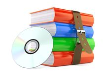 Books with cd. Isolated on white background Stock Photo
