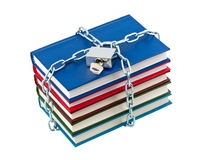 Books in chains closed padlock.