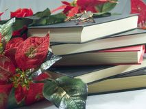 Books and Christmas flowers Stock Images
