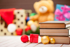 Books with christmas gifts Stock Photos