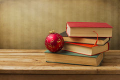 Books with christmas ornament Royalty Free Stock Photo