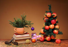 Books and Christmas tree Stock Photography