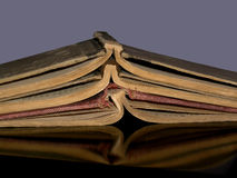 Books circa 1849. Stack of three old music books Stock Photo