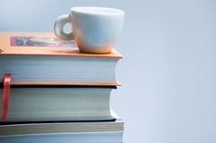 Books & coffe. Study life: books & coffe on white background isolated royalty free stock photography