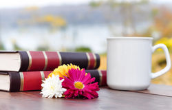 Books and coffe on wooden table Royalty Free Stock Photos