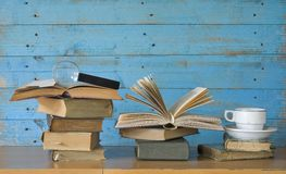 Books with coffee cup Stock Photography