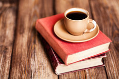 Books and a coffee cup Stock Photo