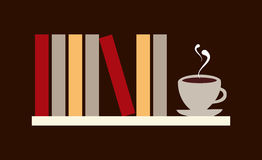 Books and coffee illustration. Library shelf with books and cup of coffee. Vector file available Stock Photography
